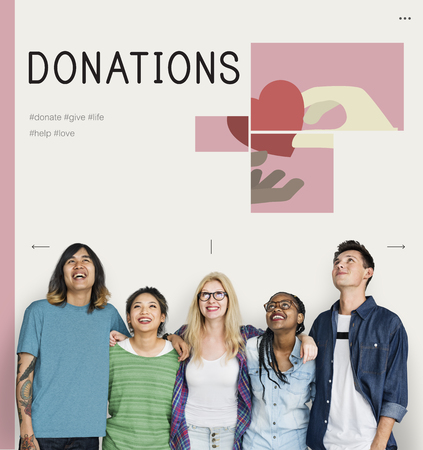 Group of students with illustration of charity donations campaign