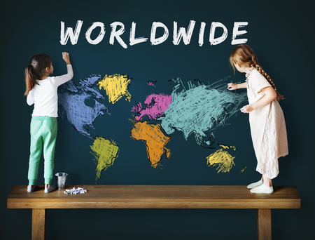 Children education learning with cartography mapping graphic