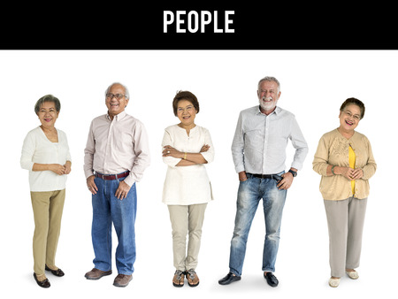 Group of senior adult people smiling and standing in a row Banco de Imagens