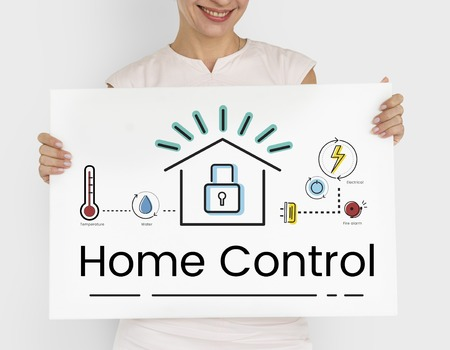 Woman holding illustration of smart house invention automation technology banner Stock Photo