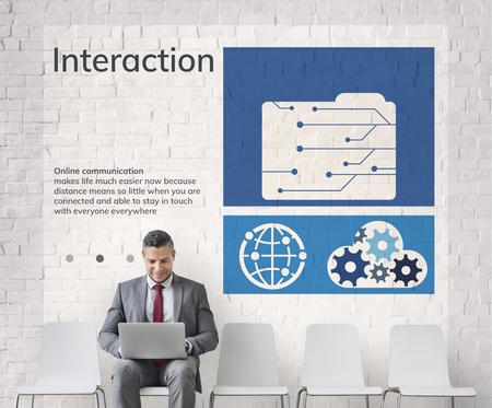 ネットワーク接続グラフィック オーバーレイの背景の壁に看板