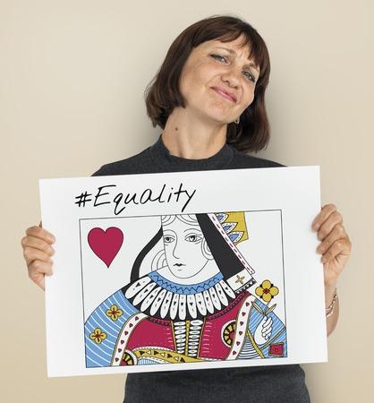 Women Rights Queen Card Concept Stockfoto