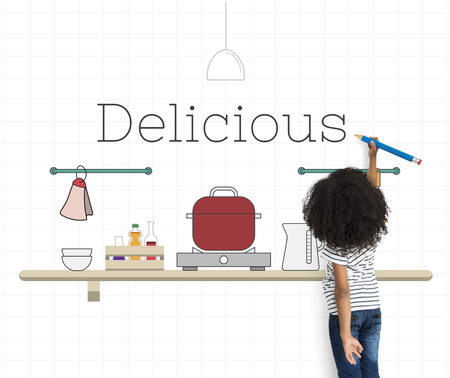 Child with illustration of food cooking kitchen utensil