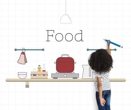 Enfant avec illustration de cuisine cuisine ustensile de cuisine Banque d'images - 82320450