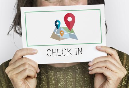 Check-in destination location route navigation Stockfoto