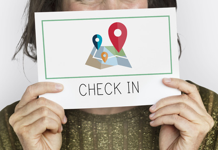 Check-in destination location route navigation Stock Photo