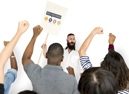 Man holding network graphic overlay billboard people cheering