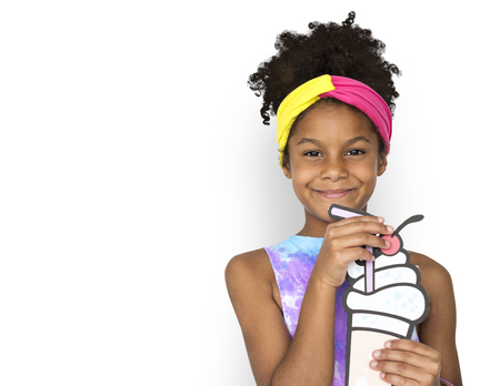 Little African Girl Holding Illustration