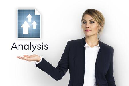 Businesswoman plan and analysis market growth Banco de Imagens