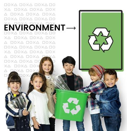 Children holding bucket network graphic overlay background Stock fotó - 82282322