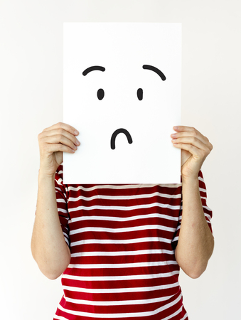 Illustration of confuse stunned face on banner Stock Illustration - 82283149
