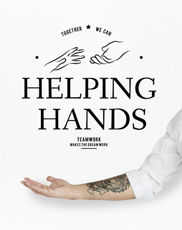 Illustration of helping hands support team