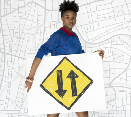 uturn: Woman holding network graphic overlay banner