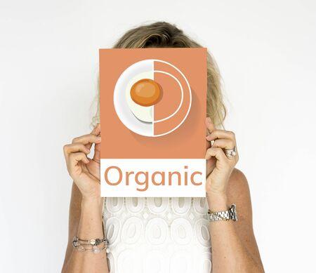 Woman holding banner of healthy food cuisine menu recipe illustration