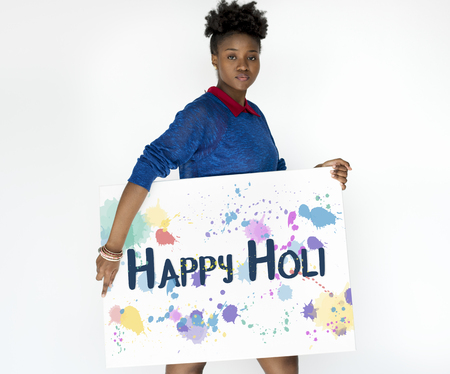 Happy Holi Colorful Blots Word Banque d'images - 82347186