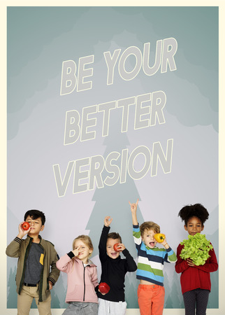 Group of school kids with aspiration word graphic Stok Fotoğraf