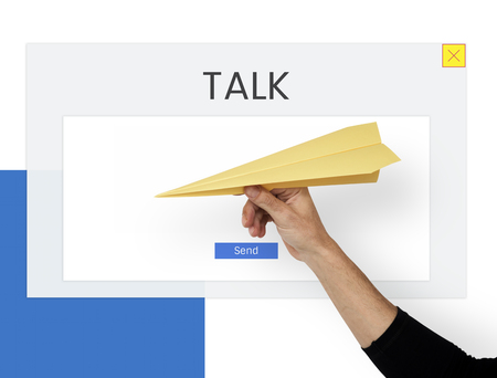 Hand with paper plane and the word about commiunication social
