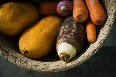 Variety of natural organic fresh vegetables Stock Photo