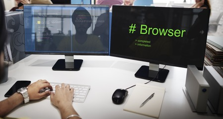 Computer Screen with Hashtag Browser Word
