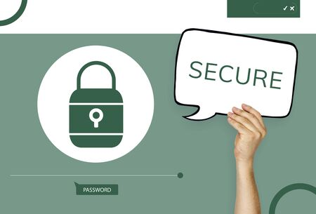 Hand holding banner with illustration of computer security system Banco de Imagens