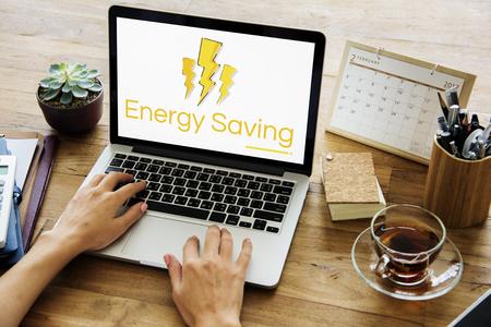 energy work: Lighting Voltage Power Energy Saving Graphic