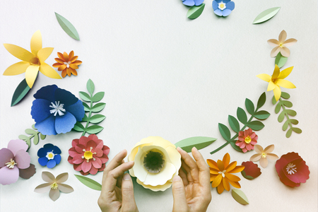 Flower Papercraft Art Activity Handmade Copy Space Stock Photo