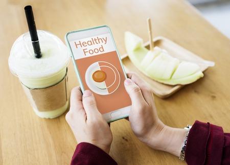 携帯電話健康食品料理メニュー レシピのイラスト