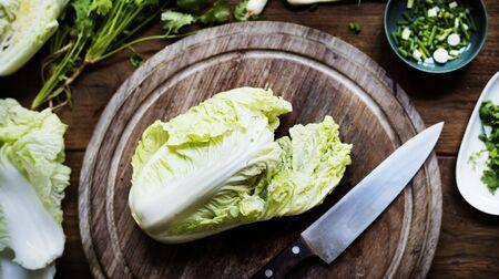 Fresh natural organic cabbage on a cutting board