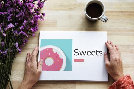 Illustration of sweet dessert donut pastry on banner
