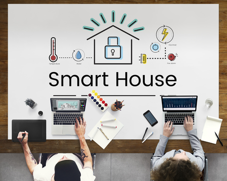 Designer meeting with illustration of smart house invention automation technology