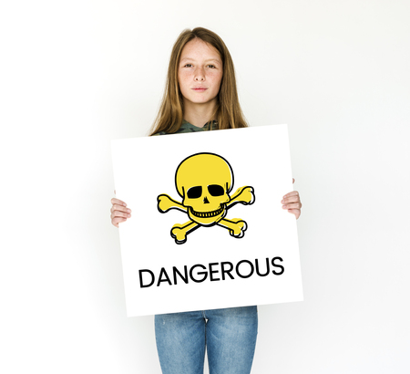 People holding placard with skull icon and chemicals dangerous Reklamní fotografie