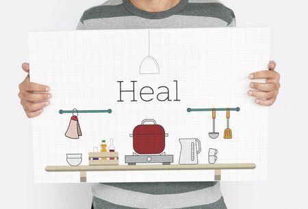 食品調理台所の道具のイラストを持っている男