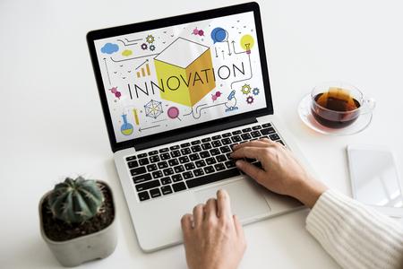 laptop outside: Illustration of innovation technology invention
