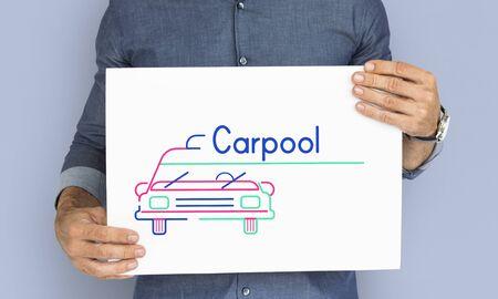 Man holding banner of automotive car rental transportation advetisement Stock Photo - 82344897