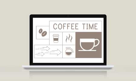 Illustration of coffee shop advertisement on laptop