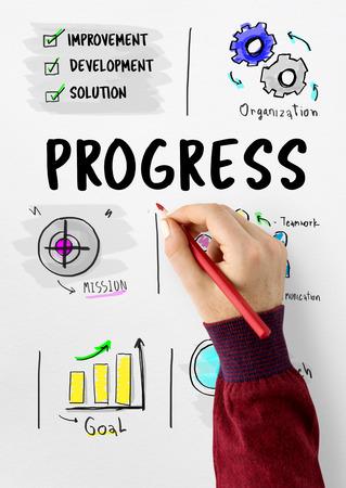 事業計画の進捗状況のスケッチ図 写真素材