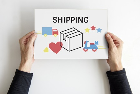 Hands hold logistics concept card Stock Photo
