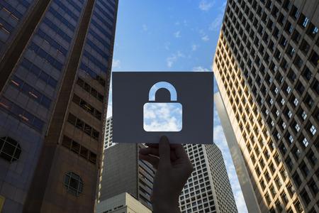 네트워크 보안 시스템 천공 용지 자물쇠 스톡 콘텐츠