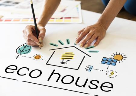 Hands working on billboard network graphic overlay Banco de Imagens