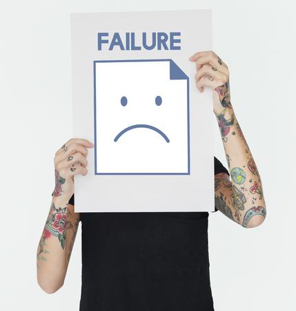 悲しみ失敗不満アイコンを問題不況