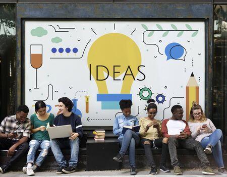 Students with Illustration of creativity ideas light bulb Stok Fotoğraf