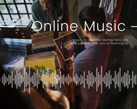 People looking at music disc network connection graphic Stock Photo