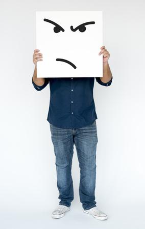 バナーを積極的な狂気の顔のイラスト