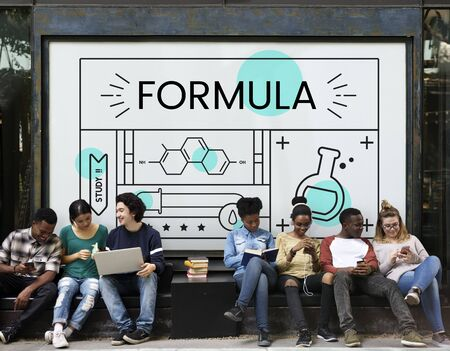 Group of students with illustration of science chemistry experiment study Banco de Imagens