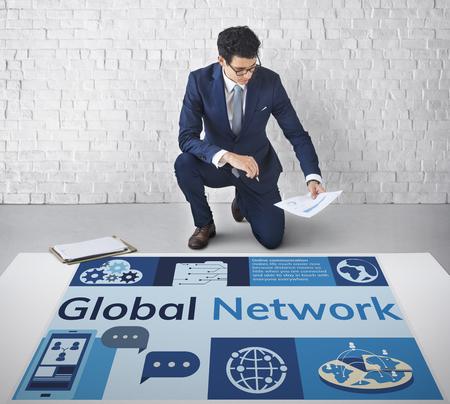 Global network communication technology graphic Banco de Imagens