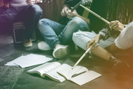 Group of musician rehearsal together