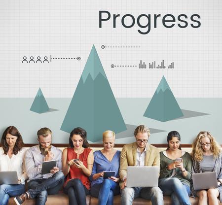 Business progress graph plan Stock Photo