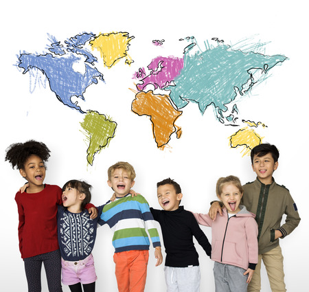 Aprendizaje de la educación infantil con cartografía gráfica Foto de archivo - 82553190