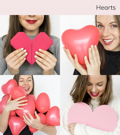 Adult Woman with Love Heart Artwork Studio Collage Reklamní fotografie