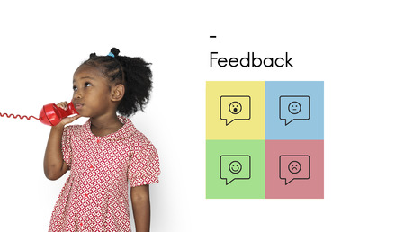 Young girl talking on the phone with Feedback graphic